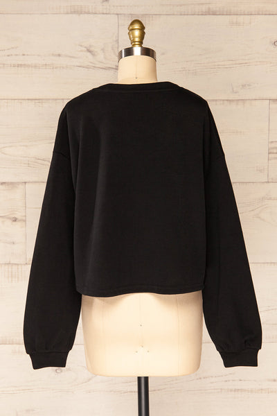 Set Flauro Black Crop Top & Pants | La petite garçonne top back view