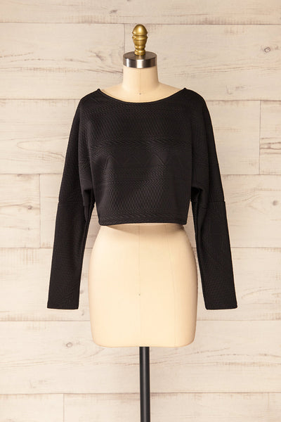 Set Ronda Black Crop Top & Skirt Set | La petite garçonne top front view