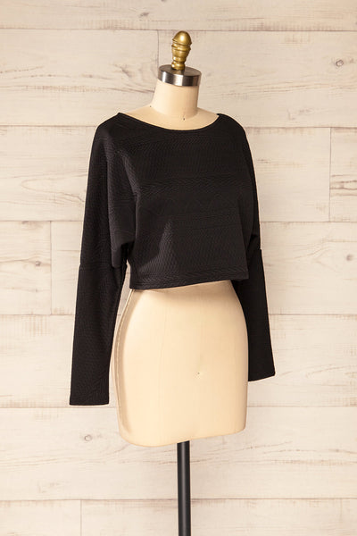 Set Ronda Black Crop Top & Skirt Set | La petite garçonne top side view