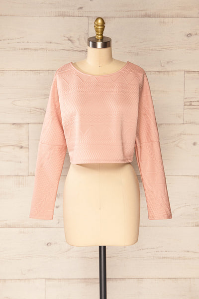Set Ronda Blush Crop Top & Skirt Set | La petite garçonne top front view