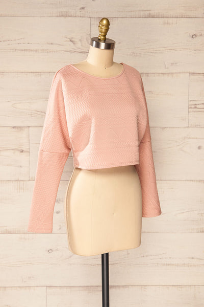 Set Ronda Blush Crop Top & Skirt Set | La petite garçonne top side view