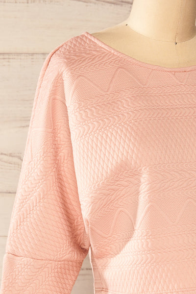 Set Ronda Blush Crop Top & Skirt Set | La petite garçonne top side close-up