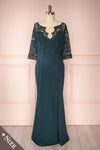 Shafie Emerald Green Lace Plus Size Maxi Dress | Boudoir 1861
