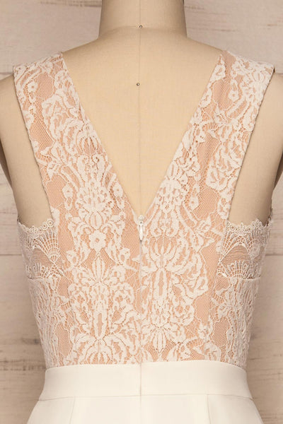 Shalini White Lace Jumpsuit | Combinaison | La Petite Garçonne back close-up