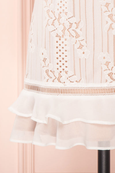 Shara Blanc White Lace Cocktail Dress | Boutique 1861 bottom close up