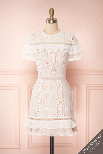 Shara Blanc White Lace Cocktail Dress | Boutique 1861 front view
