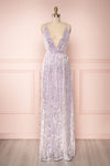 Shayana Lilas Lilac Mesh Gown with Plunging Neckline | Boutique 1861