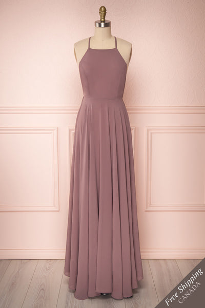 Shaynez Dusty Mauve Empire A-Line Prom Dress | Boutique 1861