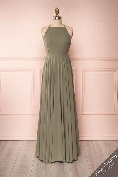 Shaynez Sage Green Empire A-Line Prom Dress front view | Boutique 1861