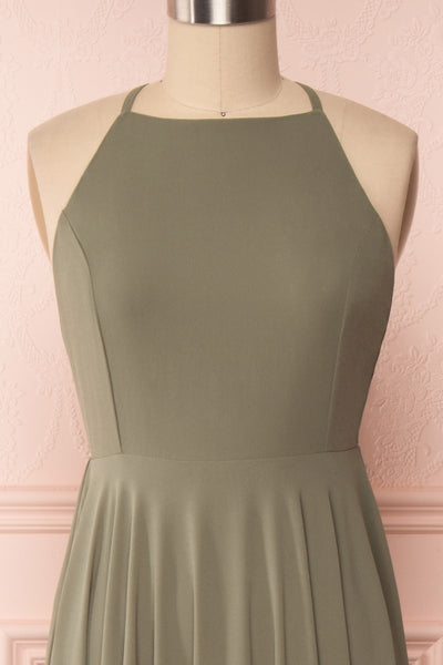 Shaynez Sage Green Empire A-Line Prom Dress front close up | Boutique 1861