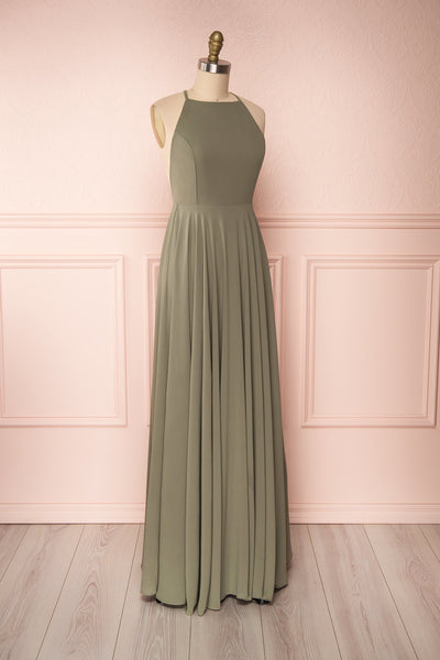 Shaynez Sage Green Empire A-Line Prom Dress side view | Boutique 1861