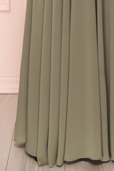 Shaynez Sage Green Empire A-Line Prom Dress skirt | Boutique 1861