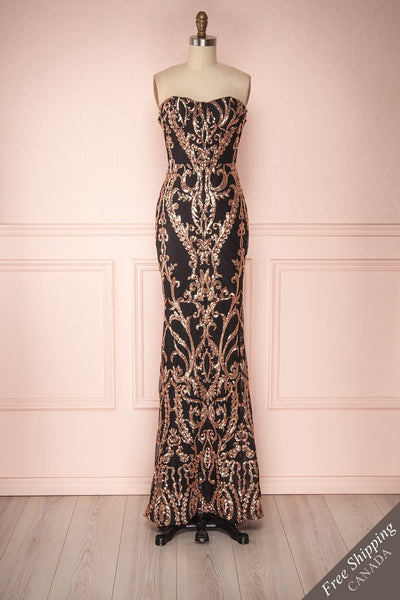 Sheraz Bronze Sequin Fitted Maxi Bustier Gown | Boutique 1861