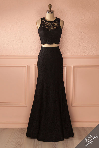 Sherlyn - Black lace top and fitted maxi skirt set