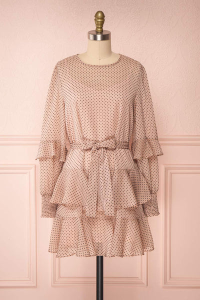 Shigeo Light Pink Polka Dot Dress w/ Ruffles front view bow | Boutique 1861