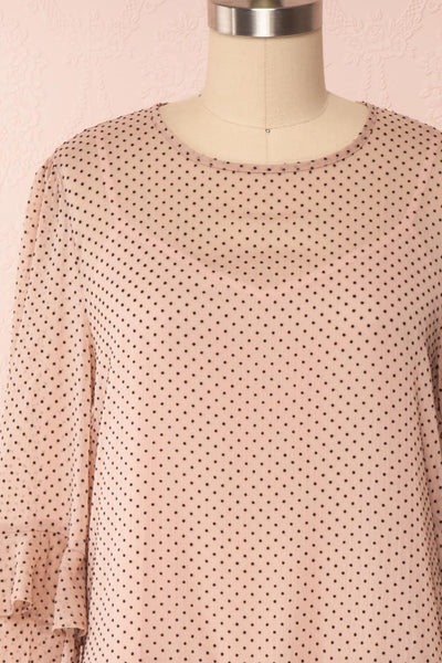 Shigeo Light Pink Polka Dot Dress w/ Ruffles front close up loose | Boutique 1861