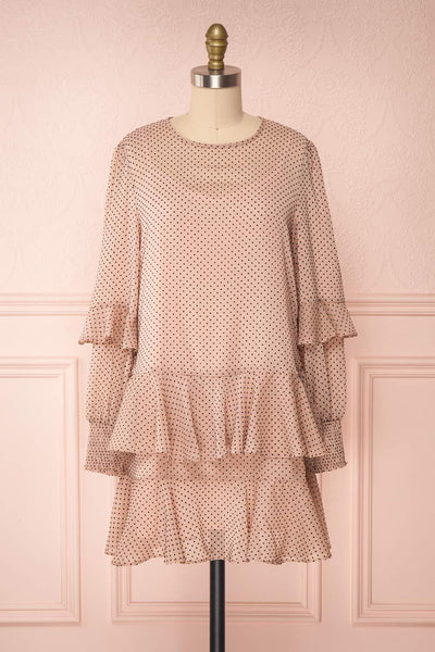 Shigeo Light Pink Polka Dot Dress w/ Ruffles front view loose | Boutique 1861