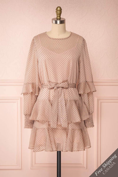 Shigeo Light Pink Polka Dot Dress w/ Ruffles front view FS | Boutique 1861