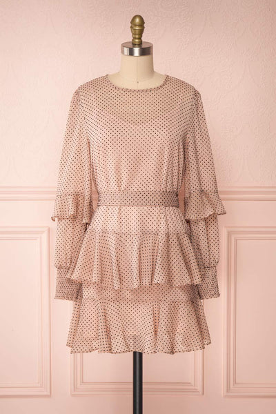 Shigeo Light Pink Polka Dot Dress w/ Ruffles front view | Boutique 1861