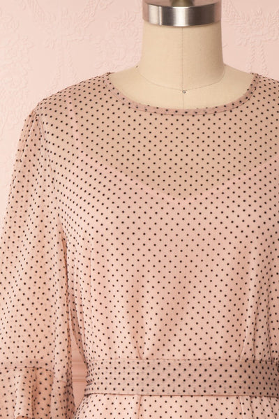 Shigeo Light Pink Polka Dot Dress w/ Ruffles front close up | Boutique 1861