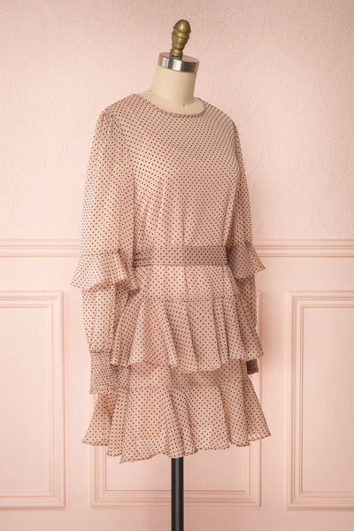 Shigeo Light Pink Polka Dot Dress w/ Ruffles side view | Boutique 1861