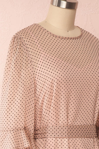 Shigeo Light Pink Polka Dot Dress w/ Ruffles side close up | Boutique 1861