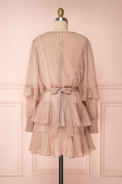 Shigeo Light Pink Polka Dot Dress w/ Ruffles back view | Boutique 1861
