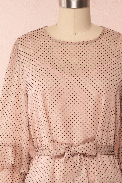 Shigeo Light Pink Polka Dot Dress w/ Ruffles front close up bow | Boutique 1861