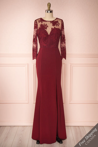 Shimi Burgundy Floral Embroidered Mermaid Gown face view | Boudoir 1861