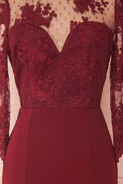 Shimi Burgundy Floral Embroidered Mermaid Gown texture close up | Boudoir 1861