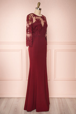 Shimi Burgundy Floral Embroidered Mermaid Gown side view | Boudoir 1861