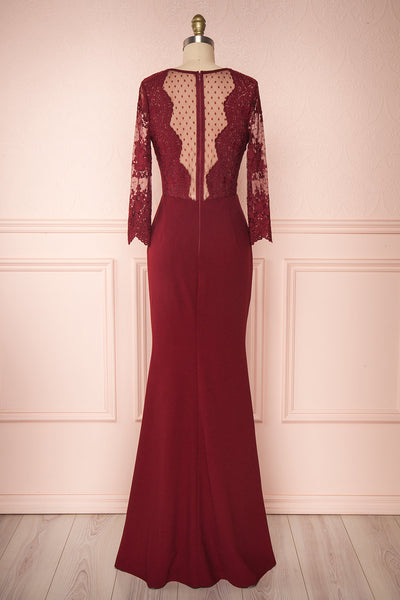 Shimi Burgundy Floral Embroidered Mermaid Gown back view | Boudoir 1861