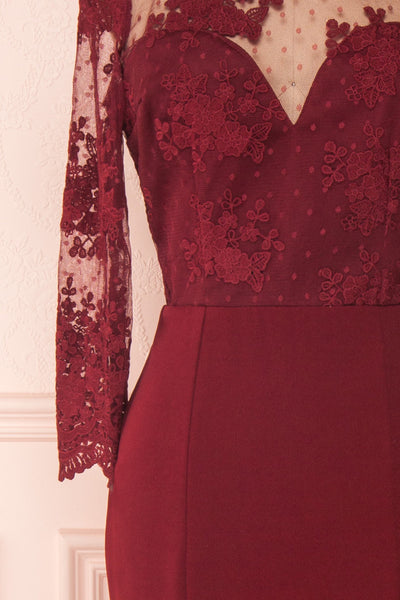 Shimi Burgundy Floral Embroidered Mermaid Gown sleeve close up | Boudoir 1861