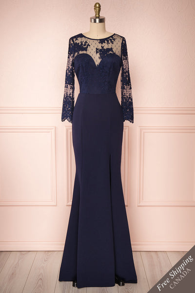 Shimi Navy Blue Floral Embroidered Mermaid Gown face view | Boudoir 1861