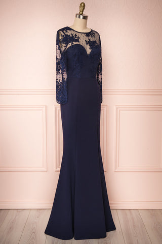 Shimi Navy Blue Floral Embroidered Mermaid Gown | Boudoir 1861