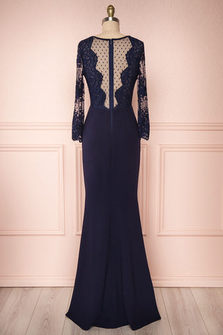Shimi Navy Blue Floral Embroidered Mermaid Gown back view | Boudoir 1861