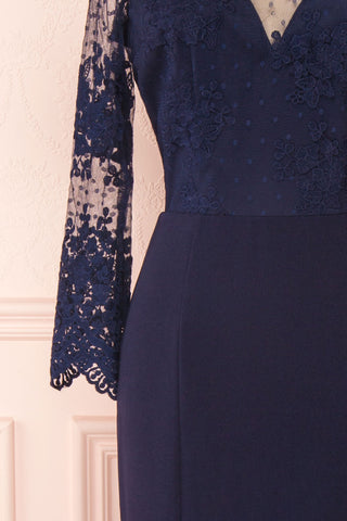Shimi Navy Blue Floral Embroidered Mermaid Gown sleeve close up | Boudoir 1861