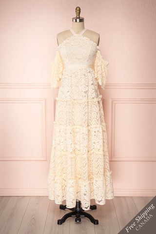 Shinshiro Cream Lace Ruffled Off-Shoulder Dress | Dress Boutique 1861