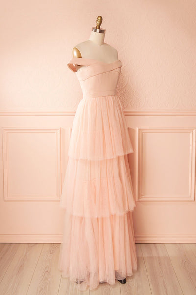 Shiri Rose Light Pink Gown with Layered Tulle Skirt | Boudoir 1861 side view