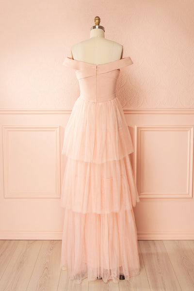 Shiri Rose Light Pink Gown with Layered Tulle Skirt | Boudoir 1861 back view