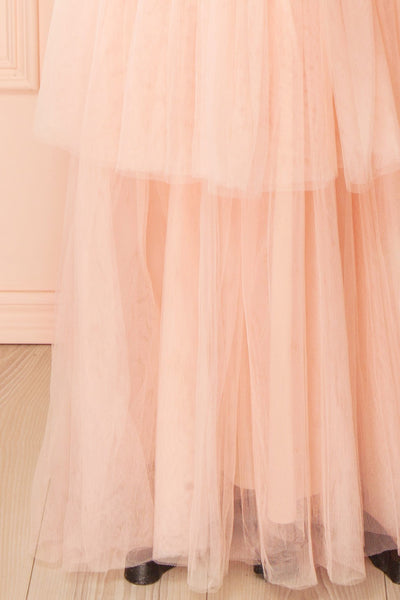 Shiri Rose Light Pink Gown with Layered Tulle Skirt | Boudoir 1861 bottom close-up