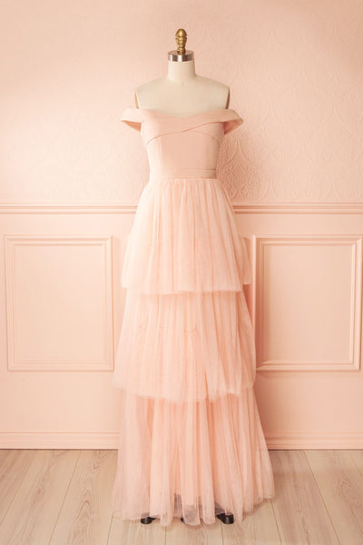 Shiri Rose Light Pink Gown with Layered Tulle Skirt | Boudoir 1861 front view