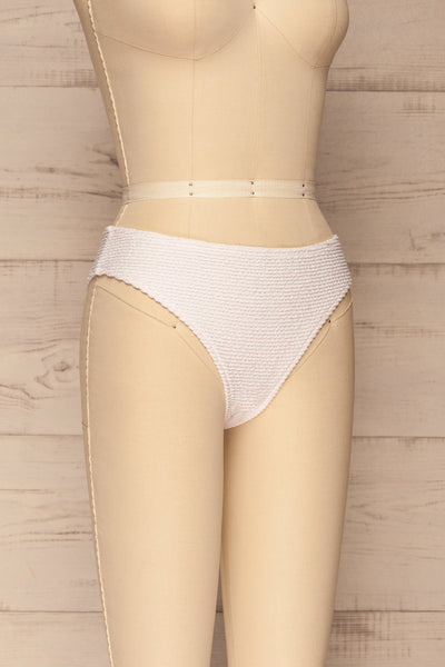 Sibay White Textured Bikini Bottom | La petite garçonne side view
