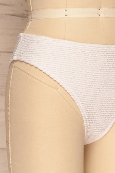 Sibay White Textured Bikini Bottom | La petite garçonne side close-up