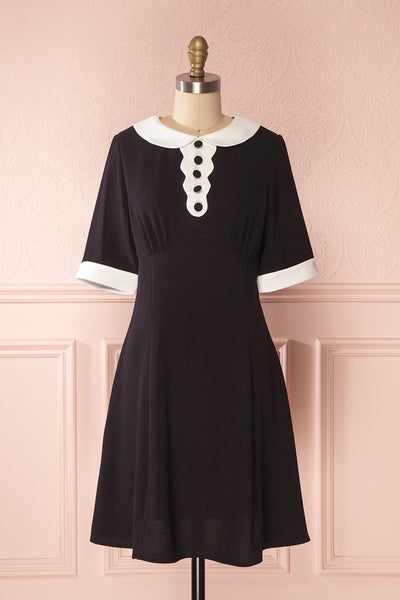 Sibby Black & White Peter Pan Collar A-Line Dress | Boutique 1861