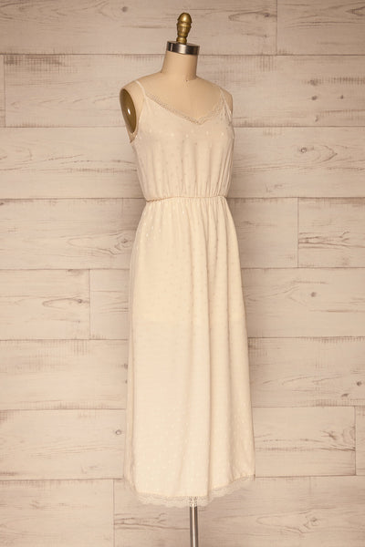 Sibiu Ivory Midi Dress w/ Thin Straps | La petite garçonne side view