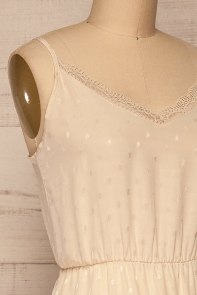 Sibiu Ivory Midi Dress w/ Thin Straps | La petite garçonne side close-up
