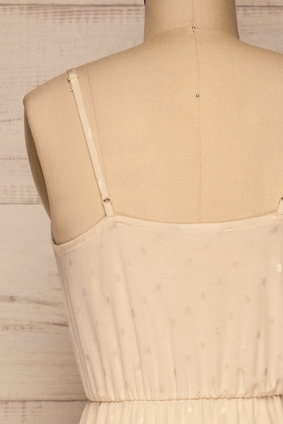 Sibiu Ivory Midi Dress w/ Thin Straps | La petite garçonne  back close-up