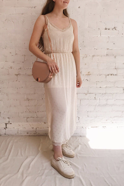 Sibiu Ivory Midi Dress w/ Thin Straps | La petite garçonne model look