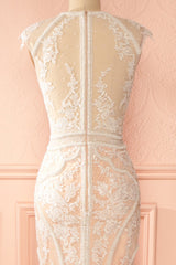 Sybilla - White and peach beaded lace gown
